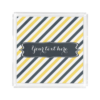 Personalized Yellow and Charcoal Grey Stripes Acrylic Tray
