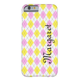 Personalized Yellow and Pink Argyle Plaid Pattern Barely There iPhone 6 Case