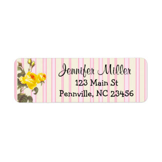 Personalized Yellow and Pink Floral Address Labels