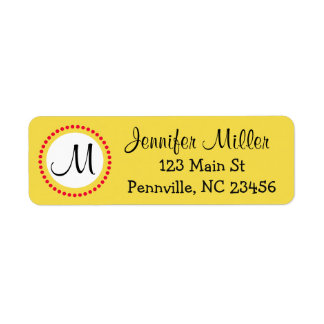Personalized Yellow and Red Return Address Labels
