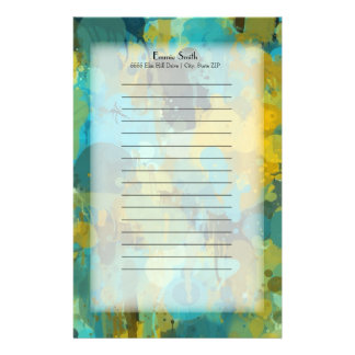 Personalized Yellow and Teal Splatter Abstract Stationery