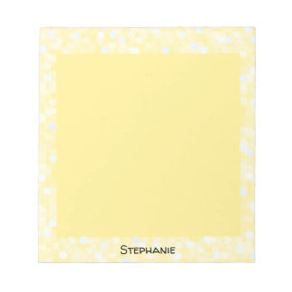 Personalized Yellow Bokeh Frame Notepad