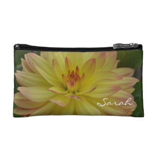 Personalized Yellow Dahlia Cosmetic Bag