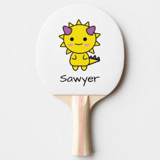 Personalized Yellow Dinosaur Kawaii Cartoon Ping Pong Paddle