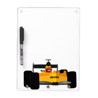 Personalized Yellow Dragster Race Car Dry-Erase Whiteboard
