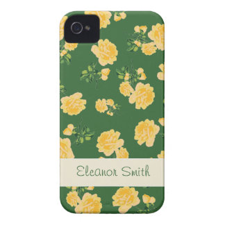Personalized yellow flowers case - chinese green