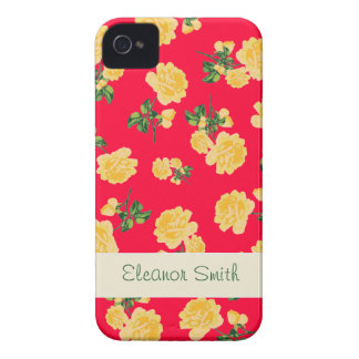 Personalized yellow flowers case - chinese red