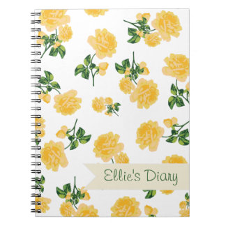 Personalized yellow flowers & fresh white notebook