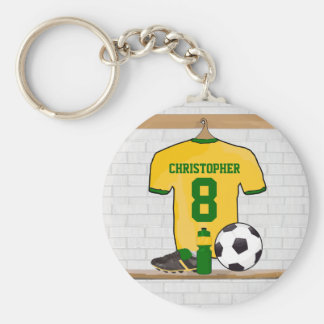 Personalized Yellow Green Football Soccer Jersey Basic Round Button Key Ring