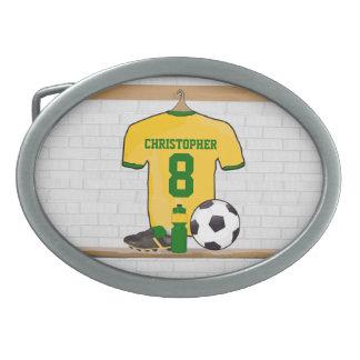 Personalized Yellow Green Football Soccer Jersey Belt Buckle