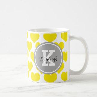 Personalized Yellow Hearts Basic White Mug