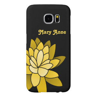 Personalized Yellow Illustrated Lotus Flower Samsung Galaxy S6 Cases