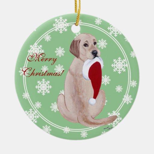 Personalized Yellow Lab Christmas Santa Hat Ornament