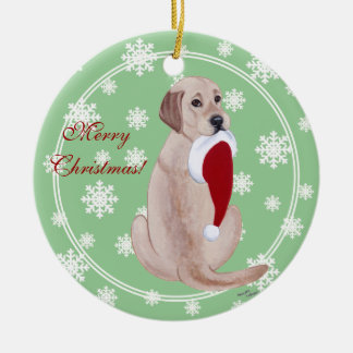 Personalized Yellow Lab Christmas Santa Hat Round Ceramic Decoration