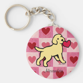 Personalized Yellow Lab Puppy and Red Heart Key Ring