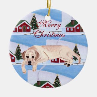 Personalized Yellow Lab Puppy Christmas Round Ceramic Decoration
