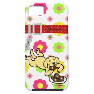 Personalized Yellow Labrador and Doughnuts Case For The iPhone 5