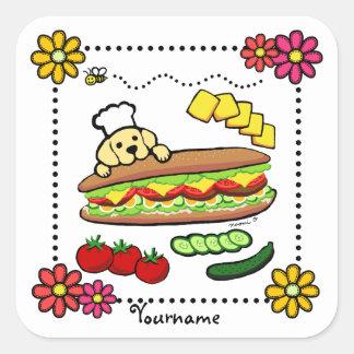 Personalized Yellow Labrador Bakery Cartoon Square Sticker