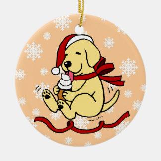 Personalized Yellow Labrador Cartoon Christmas Round Ceramic Decoration