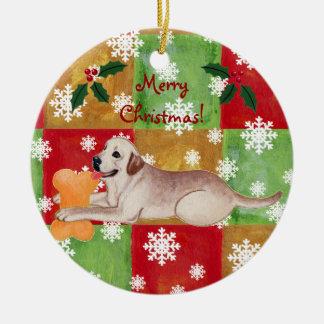 Personalized Yellow Labrador Christmas Mosaic Christmas Ornament