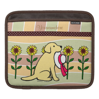 Personalized  Yellow Labrador with Sunflowers iPad Sleeve