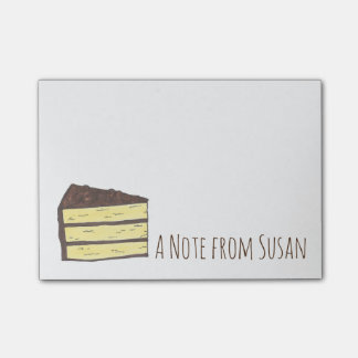 Personalized Yellow Layer Cake Slice Food Post Its Post-it Notes