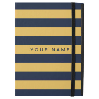 "Personalized Yellow & Navy Blue Striped iPad Pro 12.9"" Case"