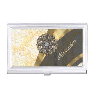 Personalized yellow pretty girly damask pattern business card holder