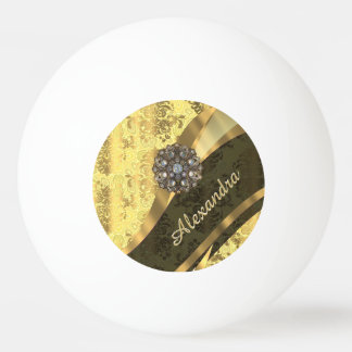 Personalized yellow pretty girly damask pattern ping pong ball