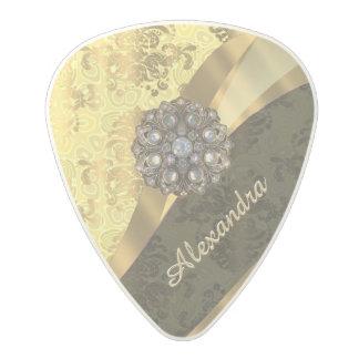 Personalized yellow pretty girly damask pattern polycarbonate guitar pick