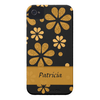 Personalized  Yellow Retro Flowers On Black Case-Mate iPhone 4 Case
