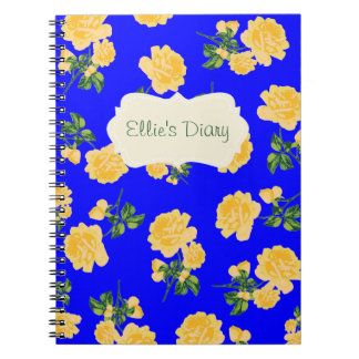 Personalized yellow roses dark blue notebook
