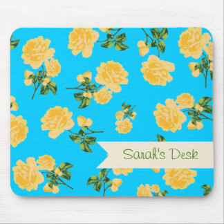 Personalized yellow roses / flowers on blue mouse pad