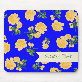 Personalized yellow roses / flowers on dark blue mouse pad