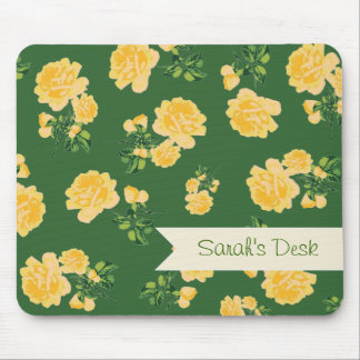 Personalized yellow roses / flowers on green mouse pad