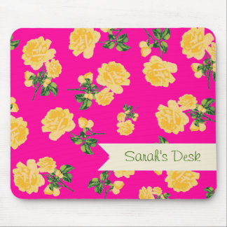 Personalized yellow roses / flowers on hot pink mouse pad