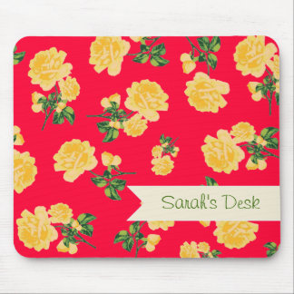 Personalized yellow roses / flowers on red mouse pad