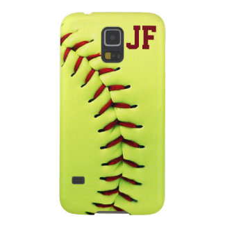 Personalized yellow softball ball galaxy s5 case