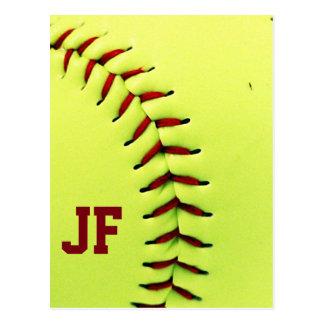 Personalized yellow softball ball postcard