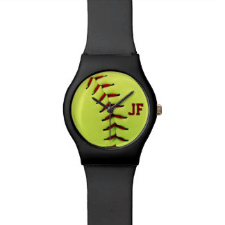 Personalized yellow softball ball watch