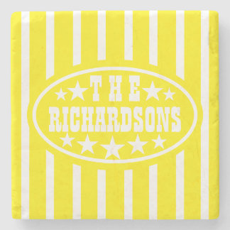 Personalized Yellow Vintage Carnival Stone Coaster