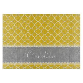 Personalized Yellow White Gray Quatrefoil Pattern Cutting Board