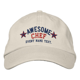 Personalized Your Name Awesome Chef Embroidery Embroidered Baseball Caps