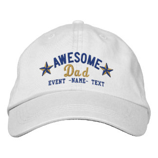 Personalized Your Name Awesome Dad Embroidery Embroidered Baseball Caps