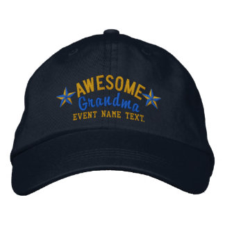 Personalized Your Name Awesome Grandma Embroidery Embroidered Baseball Cap