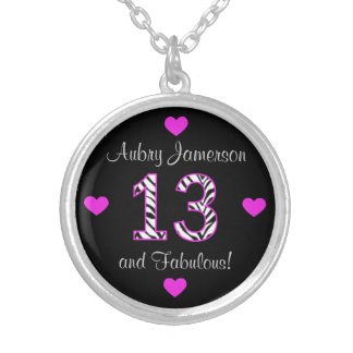 Personalized Zebra: 13th Birthday Necklace