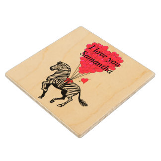 Personalized Zebra and love heart Valentines Wood Coaster
