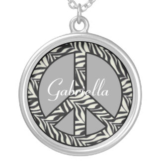 Personalized Zebra Peace Sign Necklace