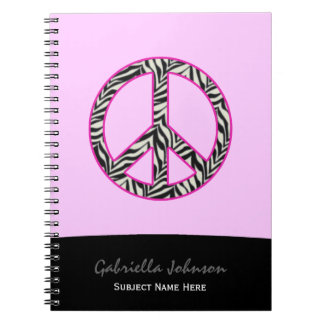 Personalized: Zebra Peace Sign Notebook