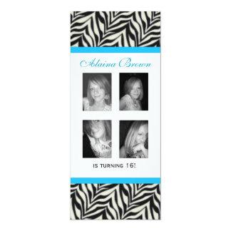 Personalized Zebra Print Birthday Party Invitation